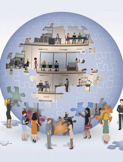 Puzzle of globe with people surrounding it